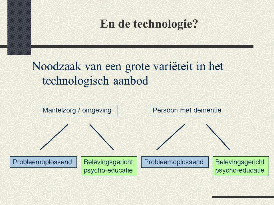En de technologie? Noodzaak van een grote variëteit in het technologisch aanbod Mantelzorg / omgevingPersoon met dementie ProbleemoplossendBelevingsge