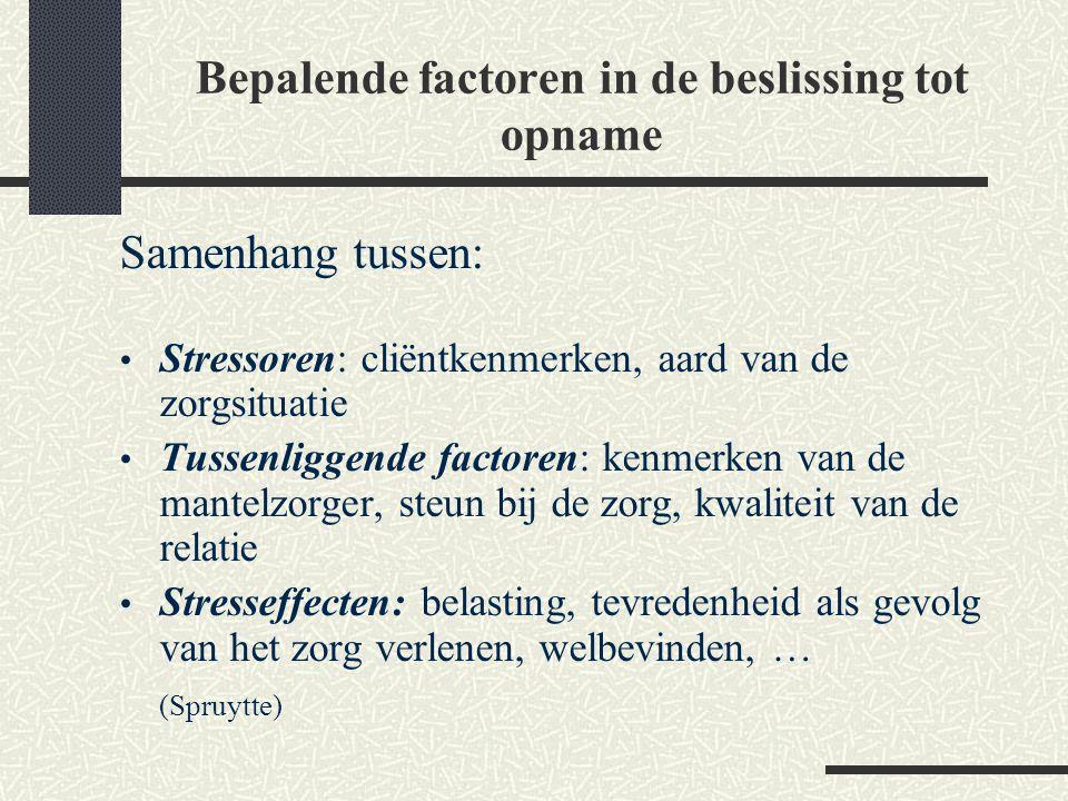 Bepalende factoren in de beslissing tot opname Samenhang tussen: Stressoren: cliëntkenmerken, aard van de zorgsituatie Tussenliggende factoren: kenmer