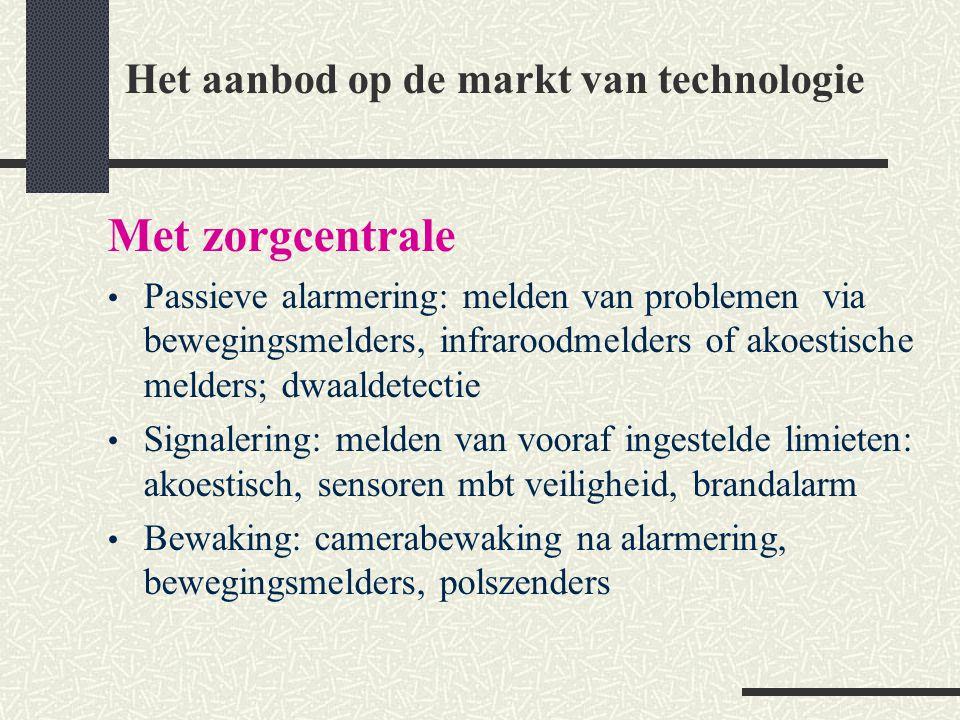 Het aanbod op de markt van technologie Met zorgcentrale Passieve alarmering: melden van problemen via bewegingsmelders, infraroodmelders of akoestisch