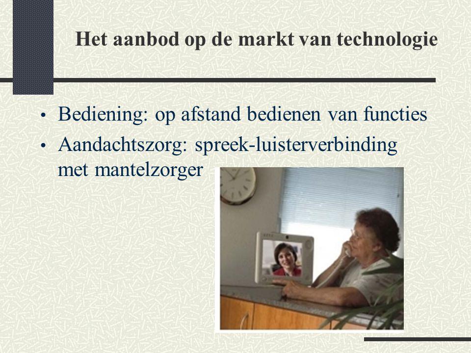 Bediening: op afstand bedienen van functies Aandachtszorg: spreek-luisterverbinding met mantelzorger Het aanbod op de markt van technologie