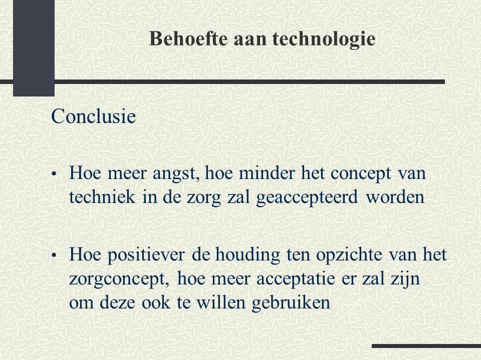 Conclusie Hoe meer angst, hoe minder het concept van techniek in de zorg zal geaccepteerd worden Hoe positiever de houding ten opzichte van het zorgco