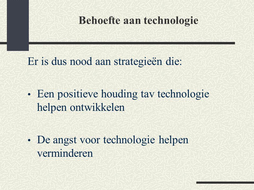 Er is dus nood aan strategieën die: Een positieve houding tav technologie helpen ontwikkelen De angst voor technologie helpen verminderen Behoefte aan