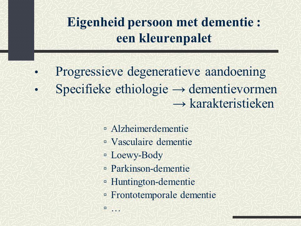 Progressieve degeneratieve aandoening Specifieke ethiologie → dementievormen → karakteristieken ▫Alzheimerdementie ▫Vasculaire dementie ▫Loewy-Body ▫P