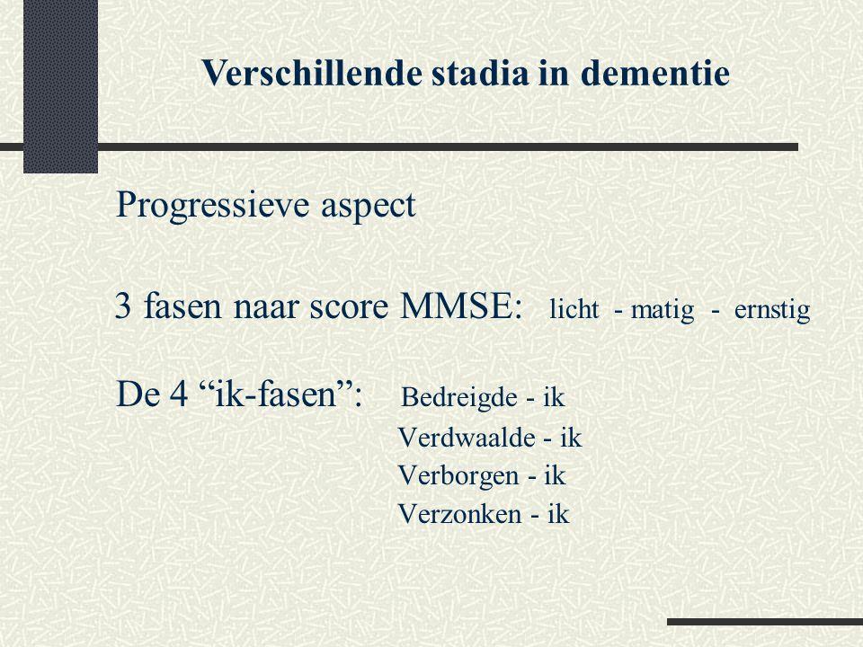 """Progressieve aspect 3 fasen naar score MMSE: licht - matig - ernstig De 4 """"ik-fasen"""": Bedreigde - ik Verdwaalde - ik Verborgen - ik Verzonken - ik Ver"""