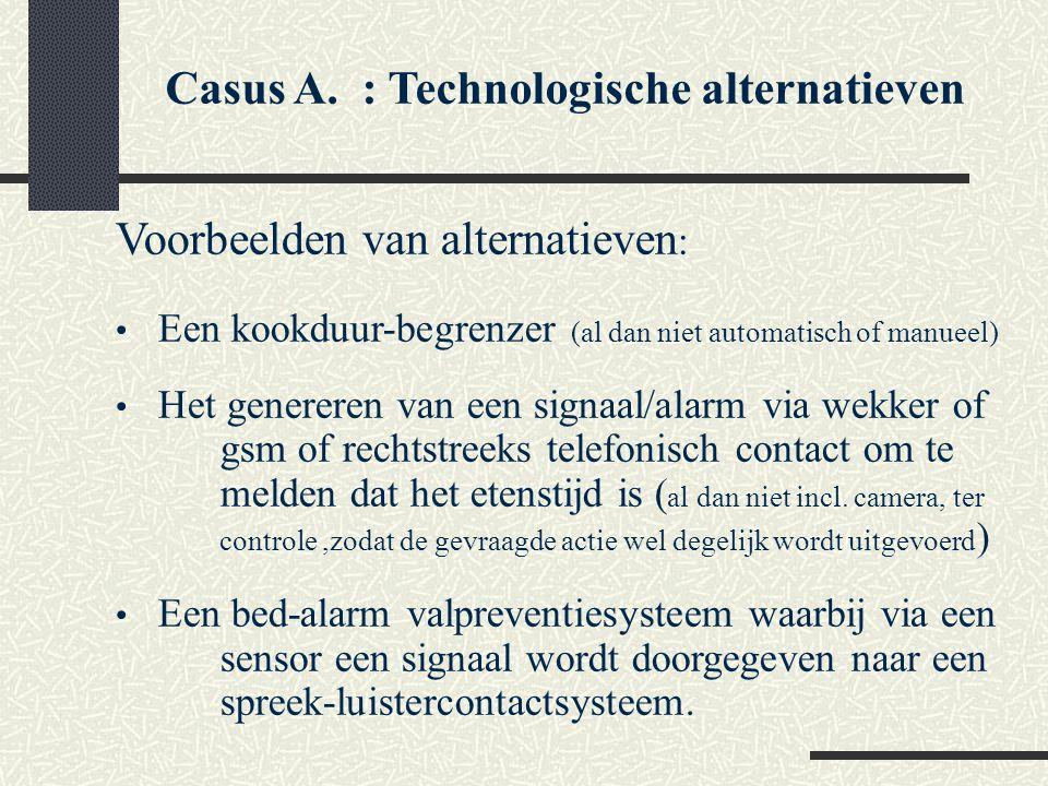 Casus A. : Technologische alternatieven Voorbeelden van alternatieven : Een kookduur-begrenzer (al dan niet automatisch of manueel) Het genereren van