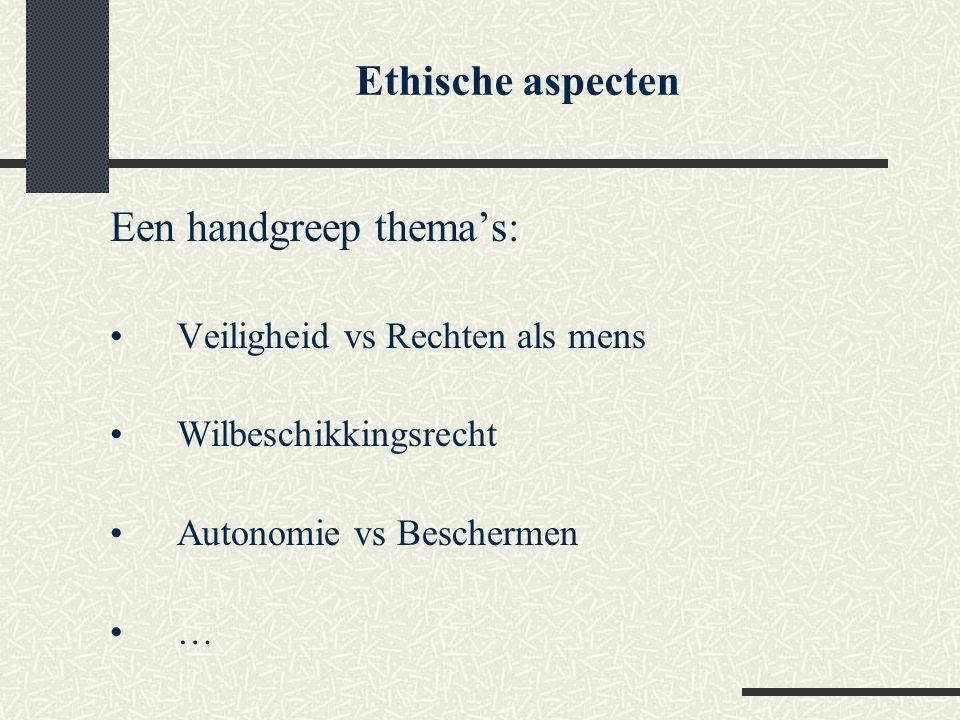 Ethische aspecten Een handgreep thema's: Veiligheid vs Rechten als mens Wilbeschikkingsrecht Autonomie vs Beschermen …