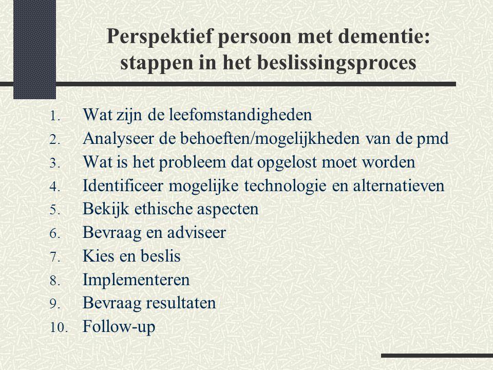 Perspektief persoon met dementie: stappen in het beslissingsproces 1. Wat zijn de leefomstandigheden 2. Analyseer de behoeften/mogelijkheden van de pm