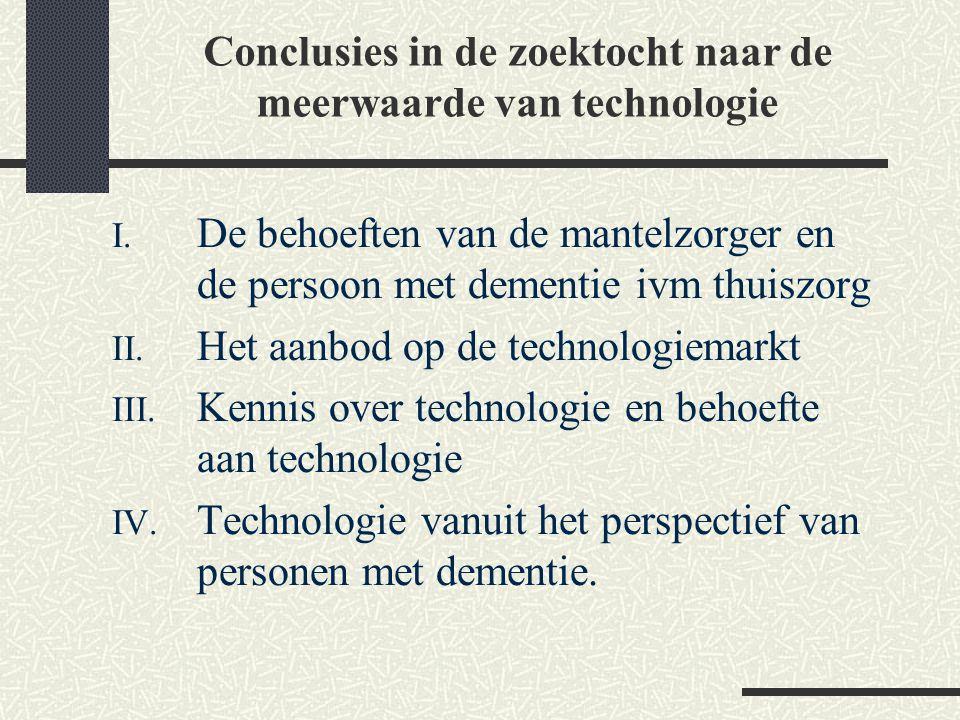 I. De behoeften van de mantelzorger en de persoon met dementie ivm thuiszorg II. Het aanbod op de technologiemarkt III. Kennis over technologie en beh