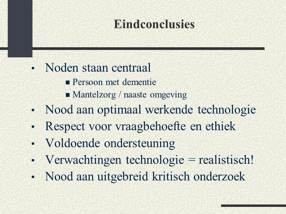 Noden staan centraal Persoon met dementie Mantelzorg / naaste omgeving Nood aan optimaal werkende technologie Respect voor vraagbehoefte en ethiek Vol