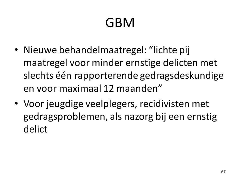GBM Nieuwe behandelmaatregel: lichte pij maatregel voor minder ernstige delicten met slechts één rapporterende gedragsdeskundige en voor maximaal 12 maanden Voor jeugdige veelplegers, recidivisten met gedragsproblemen, als nazorg bij een ernstig delict 67