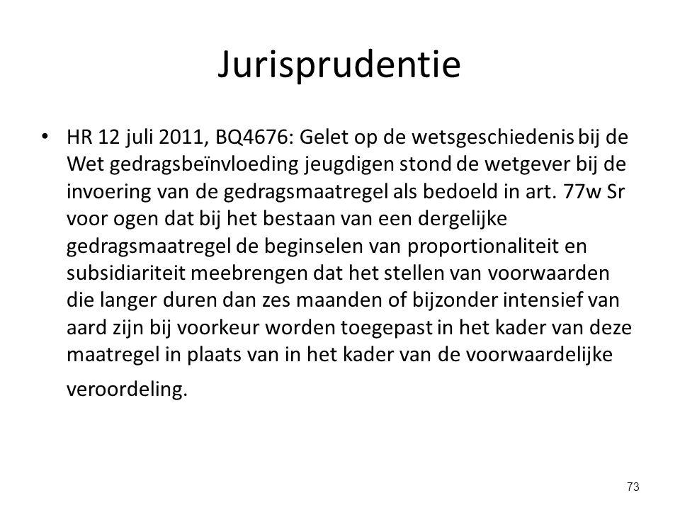 Jurisprudentie HR 12 juli 2011, BQ4676: Gelet op de wetsgeschiedenis bij de Wet gedragsbeïnvloeding jeugdigen stond de wetgever bij de invoering van de gedragsmaatregel als bedoeld in art.