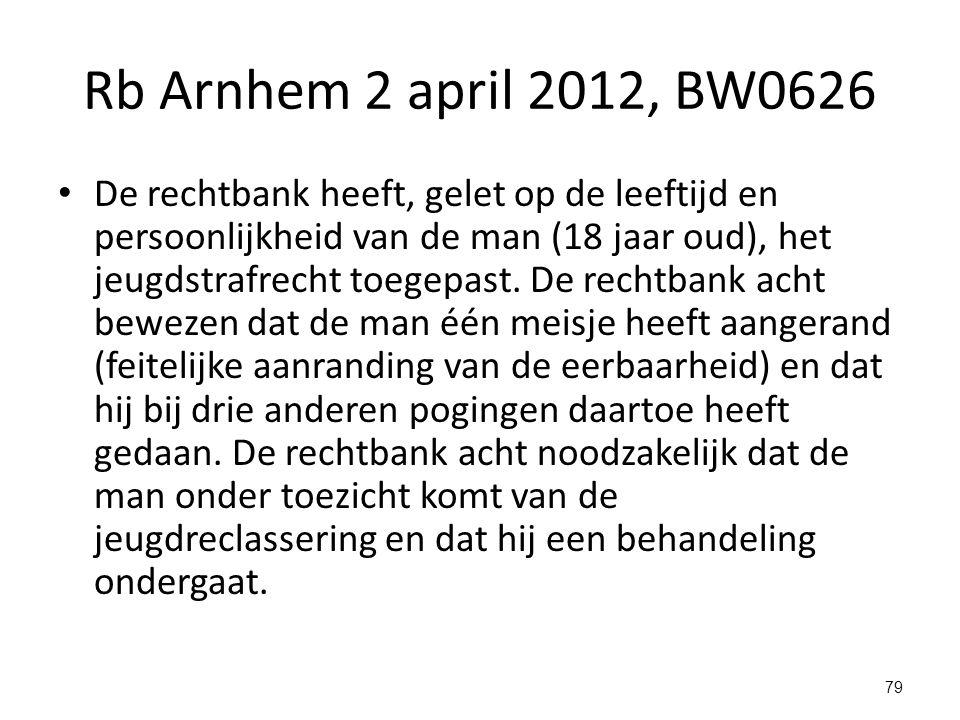 Rb Arnhem 2 april 2012, BW0626 De rechtbank heeft, gelet op de leeftijd en persoonlijkheid van de man (18 jaar oud), het jeugdstrafrecht toegepast.