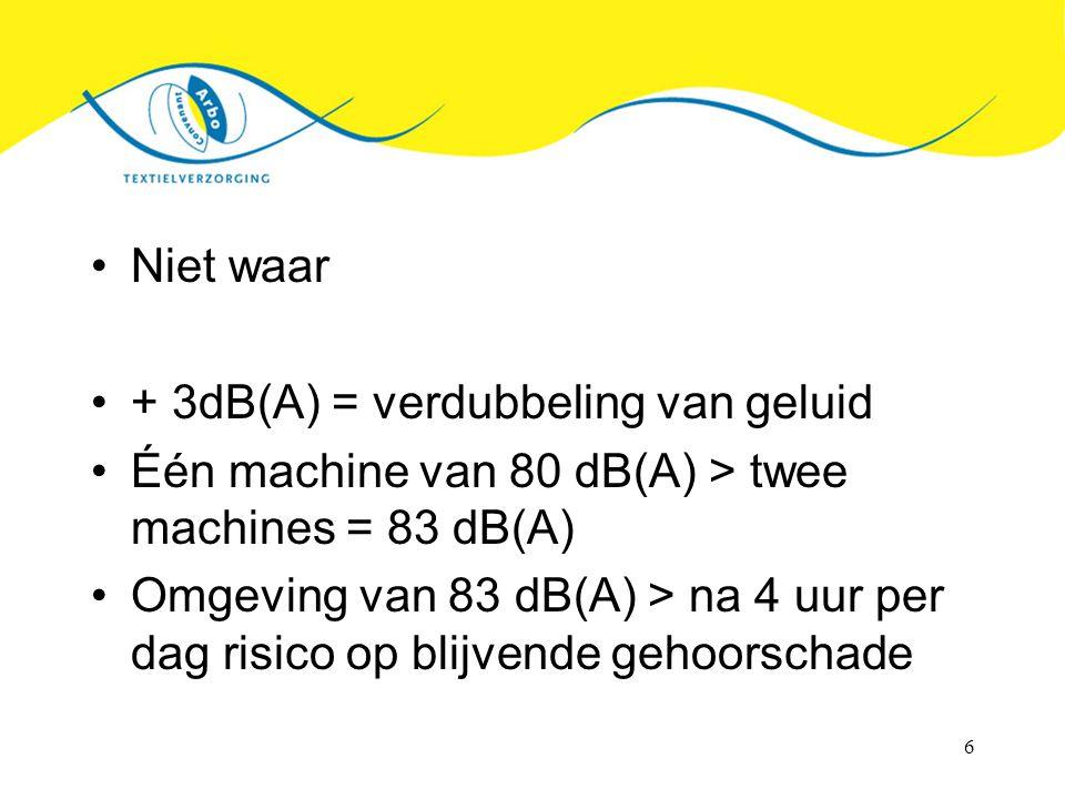 6 Niet waar + 3dB(A) = verdubbeling van geluid Één machine van 80 dB(A) > twee machines = 83 dB(A) Omgeving van 83 dB(A) > na 4 uur per dag risico op blijvende gehoorschade
