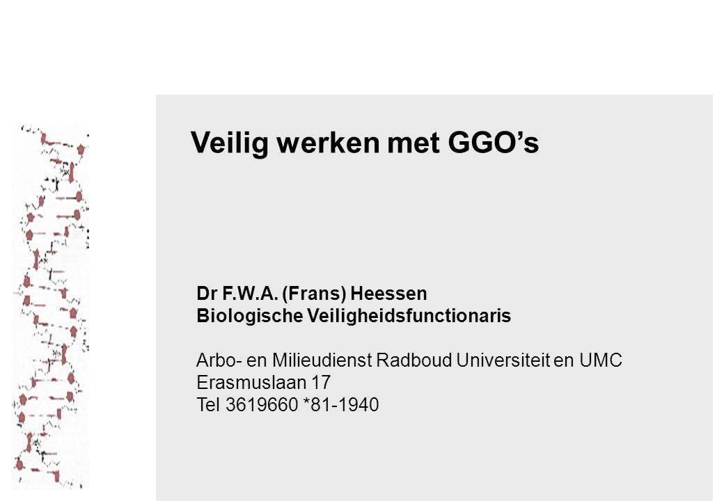Veilig werken met GGO's Dr F.W.A.