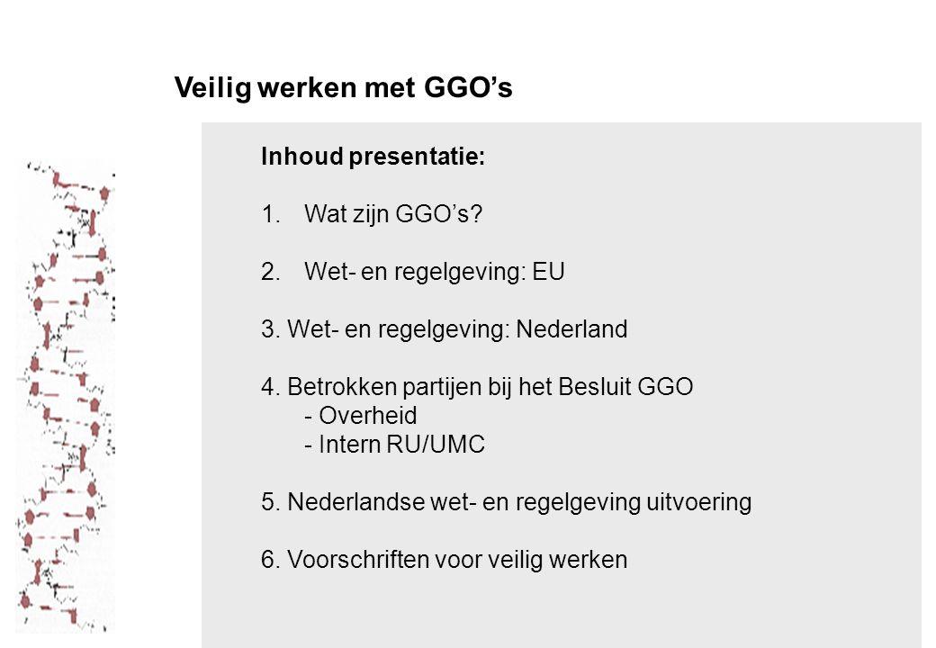 Veilig werken met GGO's Inhoud presentatie: 1.Wat zijn GGO's.