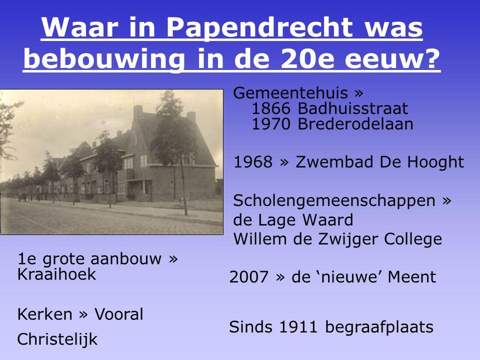 Waar in Papendrecht was bebouwing in de 20e eeuw.