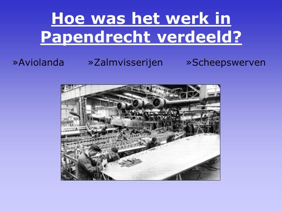 Hoe was het werk in Papendrecht verdeeld? »Aviolanda »Zalmvisserijen »Scheepswerven