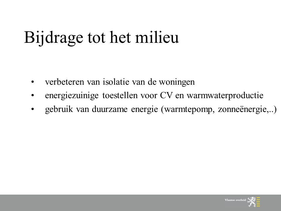 Bijdrage tot het milieu verbeteren van isolatie van de woningen energiezuinige toestellen voor CV en warmwaterproductie gebruik van duurzame energie (warmtepomp, zonneënergie,..)