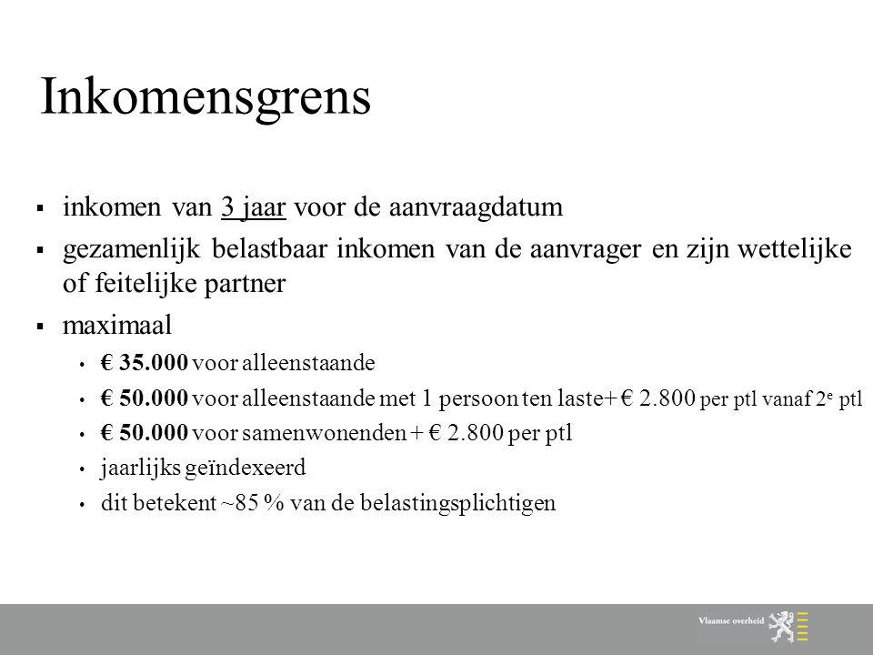 Inkomensgrens  inkomen van 3 jaar voor de aanvraagdatum  gezamenlijk belastbaar inkomen van de aanvrager en zijn wettelijke of feitelijke partner  maximaal € 35.000 voor alleenstaande € 50.000 voor alleenstaande met 1 persoon ten laste+ € 2.800 per ptl vanaf 2 e ptl € 50.000 voor samenwonenden + € 2.800 per ptl jaarlijks geïndexeerd dit betekent ~85 % van de belastingsplichtigen