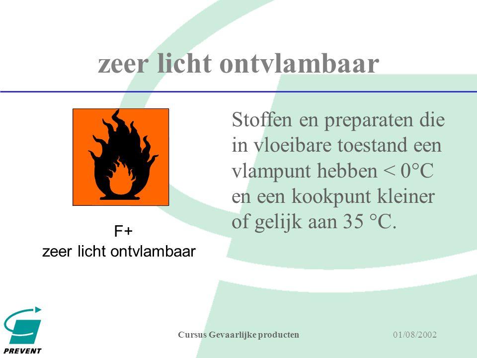 01/08/2002Cursus Gevaarlijke producten licht ontvlambaar Stoffen en preparaten die in vloeibare toestand een vlampunt hebben tussen 0 en 21°C F licht ontvlambaar