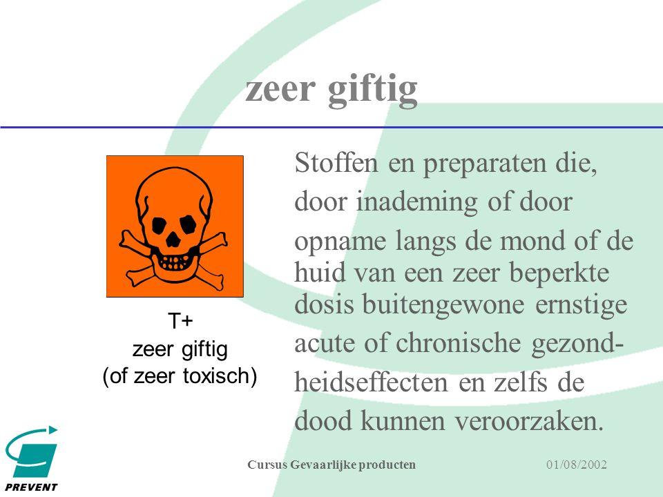 01/08/2002Cursus Gevaarlijke producten giftig LD50 bij opname langs de mond bij de rat, tussen 25 ppm en 200 ppm LD50 bij opname langs de huid bij de rat of het konijn, tussen 50 ppm en 400 ppm LC50 bij inademing bij de rat, - tussen 0,5 mg en 2 mg per liter lucht gedurende 4 uur voor gas of damp - tussen 0,25 mg en 1 mg per liter lucht gedurende 4 uur voor aërosols of stofdeeltjes