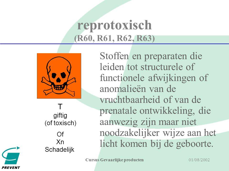 01/08/2002Cursus Gevaarlijke producten kankerverwekkend (R45 of R49, R40) Kankerverwekkende producten zijn stoffen en preparaten die door opname langs de mond, de ademhalingswegen (R49) of de huid, kanker kunnen veroorzaken of de frequentie van kanker kunnen doen toenemen.