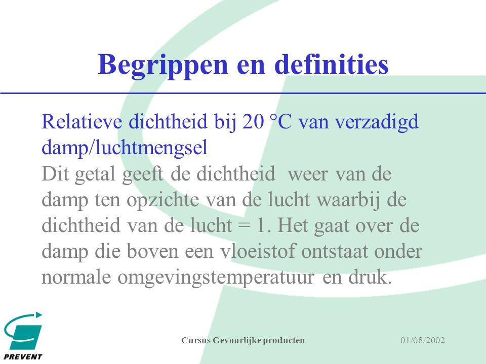 01/08/2002Cursus Gevaarlijke producten Begrippen en definities Relatieve dichtheid van een vloeistof Dit is de dichtheid t.o.v.