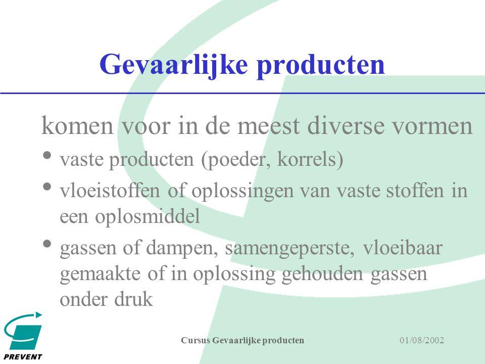 01/08/2002Cursus Gevaarlijke producten gevaarlijke producten producten die letsel, schade of hinder kunnen teweegbrengen aan personen, materialen, installaties, gebouwen en milieu