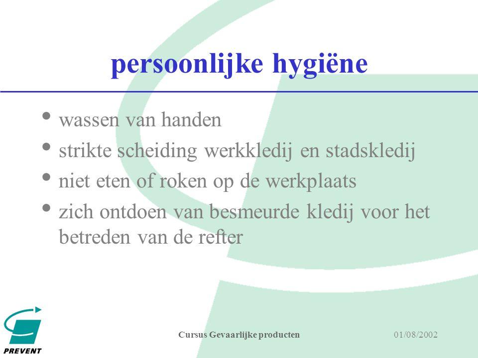 01/08/2002Cursus Gevaarlijke producten PBM's handschoenen bril, gelaatscherm ademhalingsbescherming beschermkledij keuze, pbm's aangepast aan risico's, omstandigheden, gebruikers