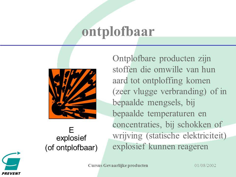 01/08/2002Cursus Gevaarlijke producten Gevaarscategorieën een stof is gevaarlijk als ze behoort tot één (of meerdere) van de 15 gevaarscategorieën, verdeeld in 3 groepen FYSICO- CHEMISCHE GEVAREN l explosief l ontvlambaar l licht ontvlambaar l zeer licht ontvlambaar l oxiderend GEZONDHEIDS- GEVAREN l schadelijk l giftig l zeer giftig l corrosief l irriterend l kankerverwekkend l reprotoxisch l mutageen l sensibiliserend GEVAREN VOOR HET MILIEU l milieugevaarlijk