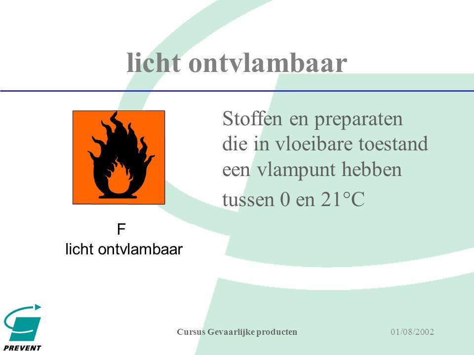 01/08/2002Cursus Gevaarlijke producten ontvlambaar Stoffen en preparaten die in vloeibare toestand een vlampunt hebben tussen 21°C en 55°C.
