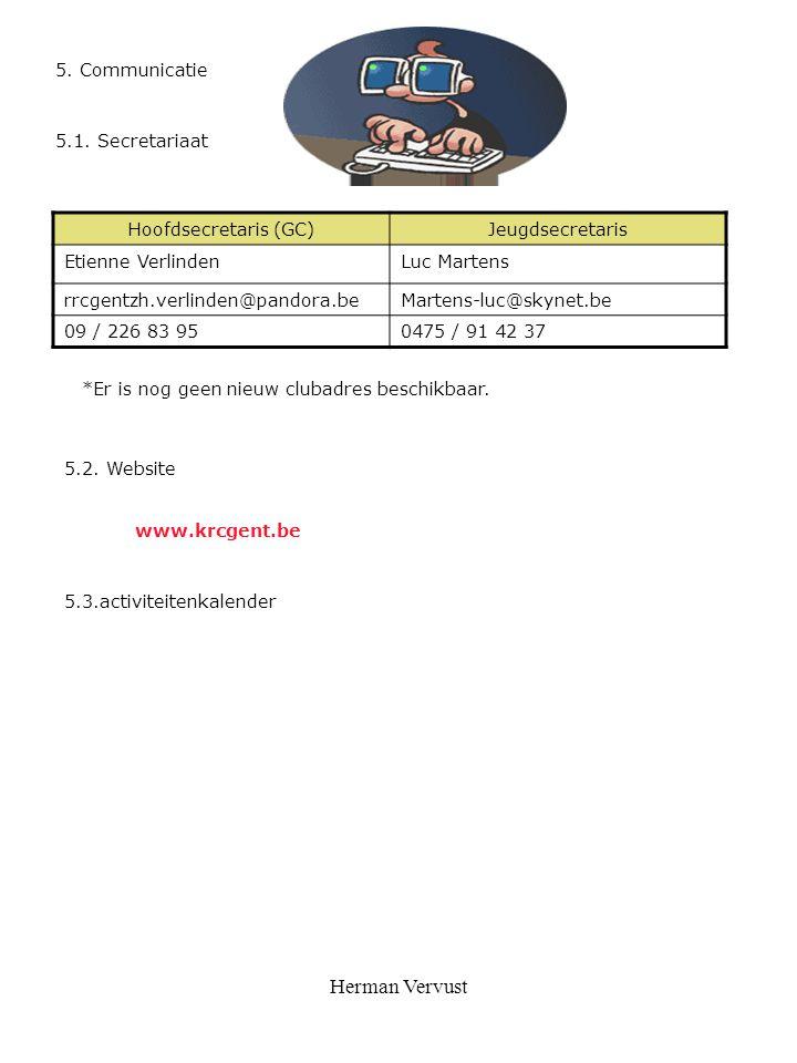 Herman Vervust 5. Communicatie 5.2. Website 5.3.activiteitenkalender 5.1. Secretariaat www.krcgent.be Hoofdsecretaris (GC)Jeugdsecretaris Etienne Verl