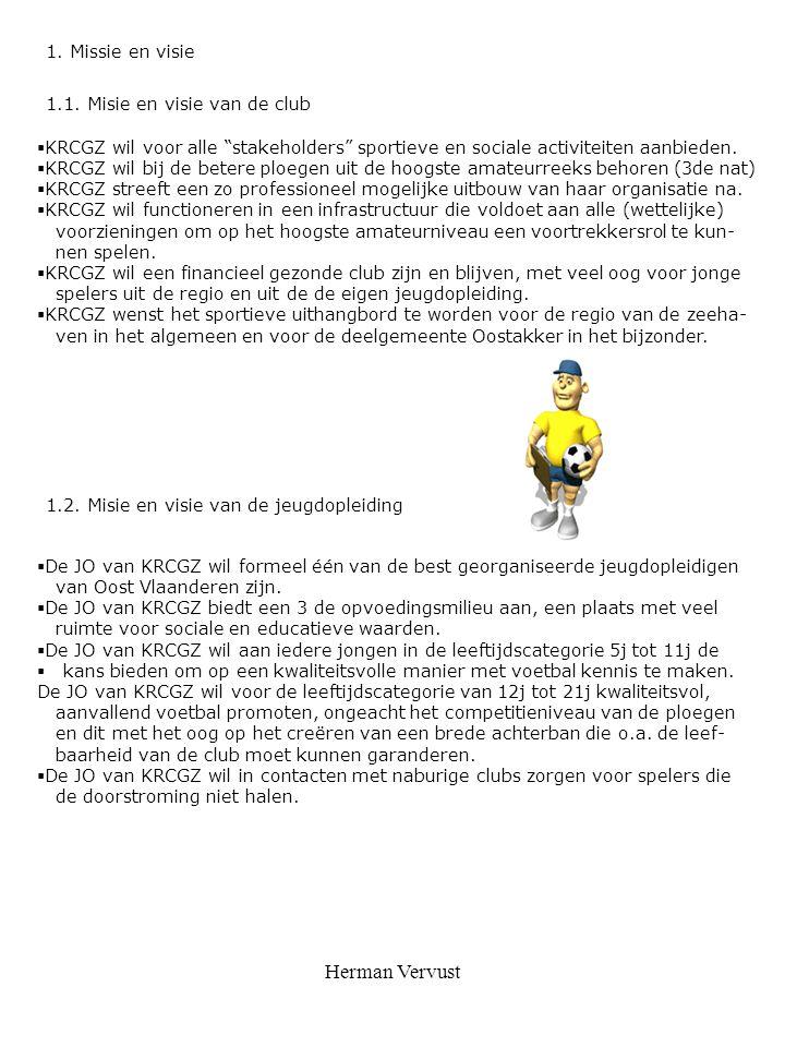 """Herman Vervust 1.1. Misie en visie van de club  KRCGZ wil voor alle """"stakeholders"""" sportieve en sociale activiteiten aanbieden.  KRCGZ wil bij de be"""