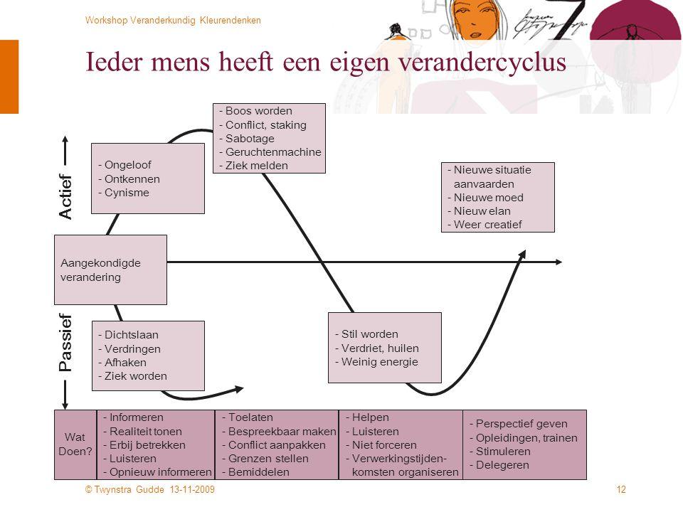 © Twynstra Gudde 13-11-2009 Workshop Veranderkundig Kleurendenken 12 Ieder mens heeft een eigen verandercyclus - Dichtslaan - Verdringen - Afhaken - Ziek worden - Nieuwe situatie aanvaarden - Nieuwe moed - Nieuw elan - Weer creatief - Informeren - Realiteit tonen - Erbij betrekken - Luisteren - Opnieuw informeren - Toelaten - Bespreekbaar maken - Conflict aanpakken - Grenzen stellen - Bemiddelen - Helpen - Luisteren - Niet forceren - Verwerkingstijden- komsten organiseren - Perspectief geven - Opleidingen, trainen - Stimuleren - Delegeren Wat Doen.