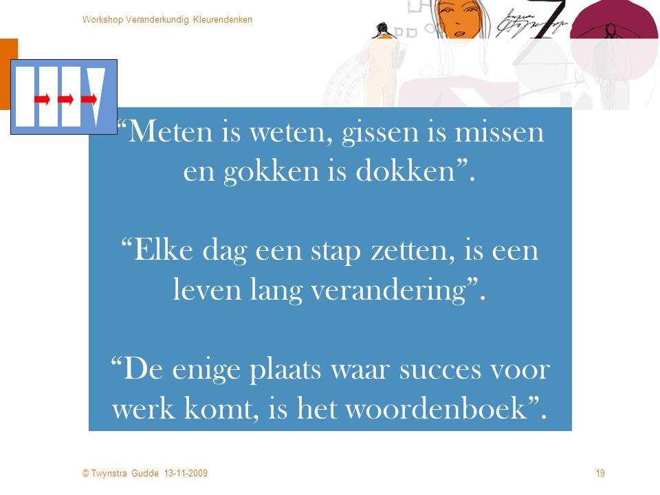 © Twynstra Gudde 13-11-2009 Workshop Veranderkundig Kleurendenken 19 Meten is weten, gissen is missen en gokken is dokken .