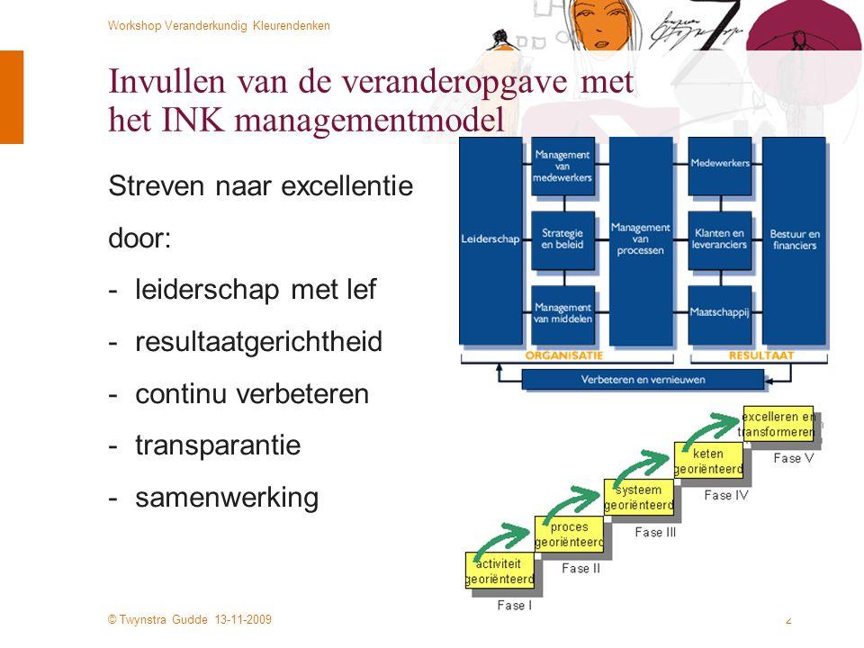 © Twynstra Gudde 13-11-2009 Workshop Veranderkundig Kleurendenken 33 Typische, opeenvolgende fasen Fase: Voorbeeld van opeenvolgende fasen bij een grote reorganisatie: Geeldruk Actoren en groepen onderhandelen met elkaar teneinde de veranderdoelen en de aanpak voor de verandering vast te stellen Blauwdruk De werkprocessen en de organisatie worden (meer of minder) participatief ontworpen Rooddruk De bemensing van werkprocessen en functies vindt plaats Groendruk Men laat de organisatie werken conform de bedoeling door middel van leer- en trainingsprogramma's Witdruk De verandering wordt verinnerlijkt en mensen geven (eigen) betekenis aan de verandering
