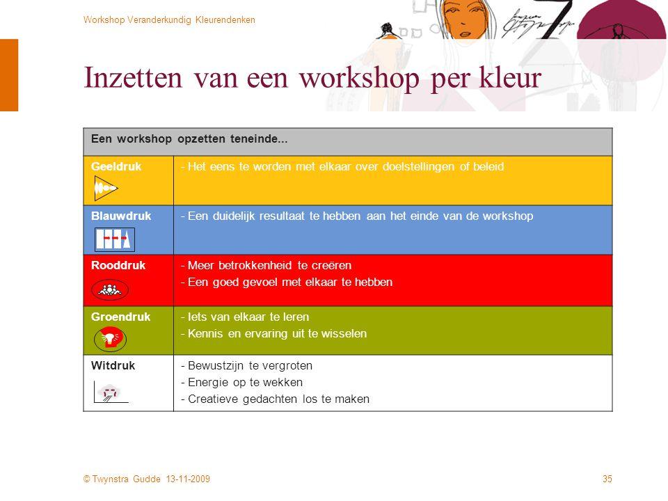© Twynstra Gudde 13-11-2009 Workshop Veranderkundig Kleurendenken 35 Inzetten van een workshop per kleur Een workshop opzetten teneinde...