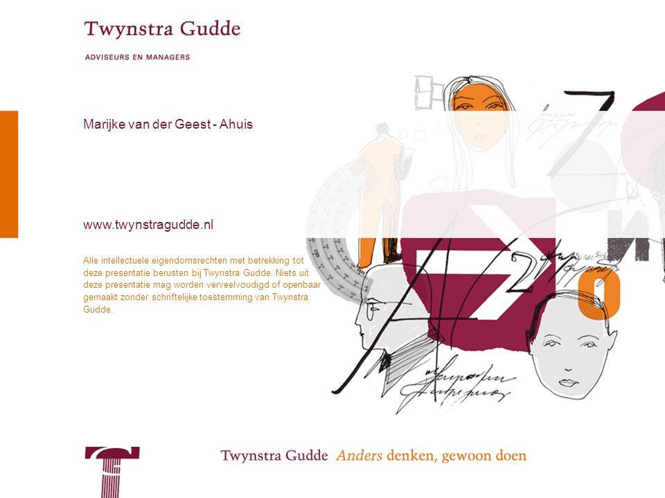 © Twynstra Gudde 13-11-2009 Workshop Veranderkundig Kleurendenken 37 Alle intellectuele eigendomsrechten met betrekking tot deze presentatie berusten bij Twynstra Gudde.