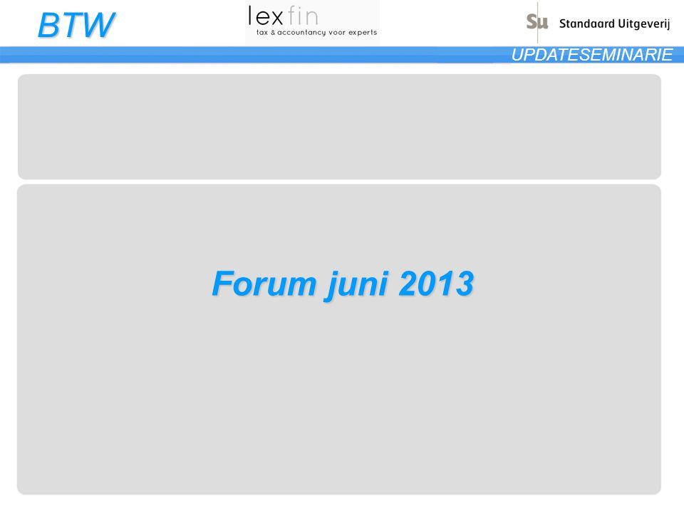 BTW UPDATESEMINARIE 2 Leveringen en diensten 2.12Datum opeisbaarheid btw IC-leveringen Voorbeeld: BE levert op 30 mei 2013 een machine af in Frankrijk en stelt op 6 juni 2013 een factuur op.