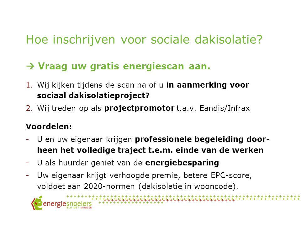 Sociale dakisolatie: een rekenvoorbeeld Kostprijs dakisolatie (opp: 75m², Rd = 4,5 ~ 16 à 18cm) = 12€/m² materiaal + 13 €/m² plaatsing = 1.988 € incl.