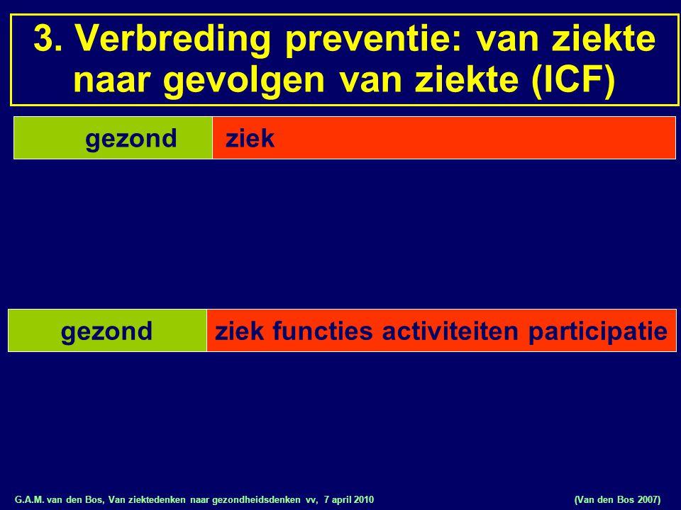 G.A.M. van den Bos, Van ziektedenken naar gezondheidsdenken vv, 7 april 2010 gezond ziek functies activiteiten participatiegezond (Van den Bos 2007) 3