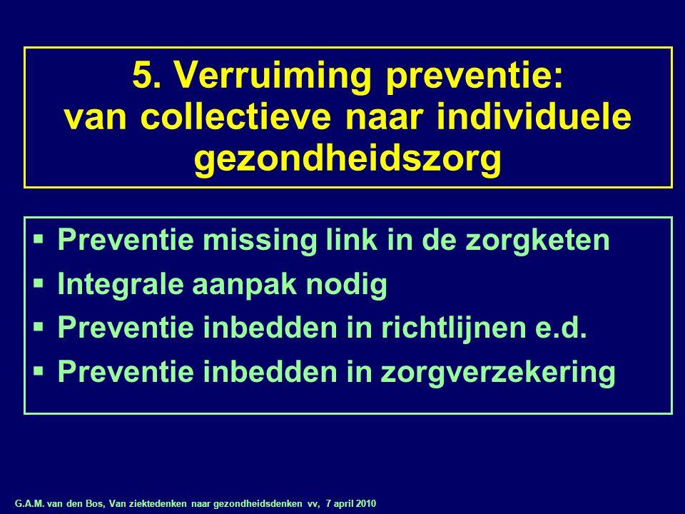G.A.M. van den Bos, Van ziektedenken naar gezondheidsdenken vv, 7 april 2010 5. Verruiming preventie: van collectieve naar individuele gezondheidszorg