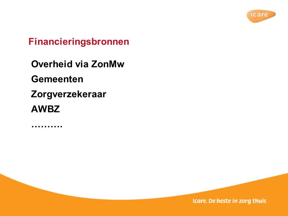 Financieringsbronnen Overheid via ZonMw Gemeenten Zorgverzekeraar AWBZ ……….