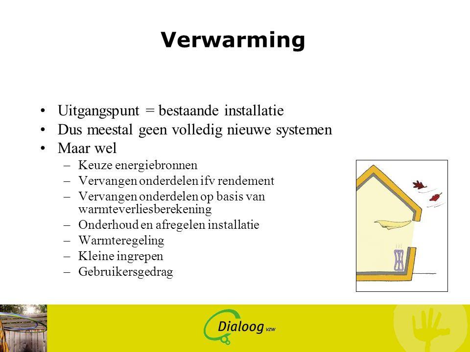 Verwarming Uitgangspunt = bestaande installatie Dus meestal geen volledig nieuwe systemen Maar wel –Keuze energiebronnen –Vervangen onderdelen ifv ren