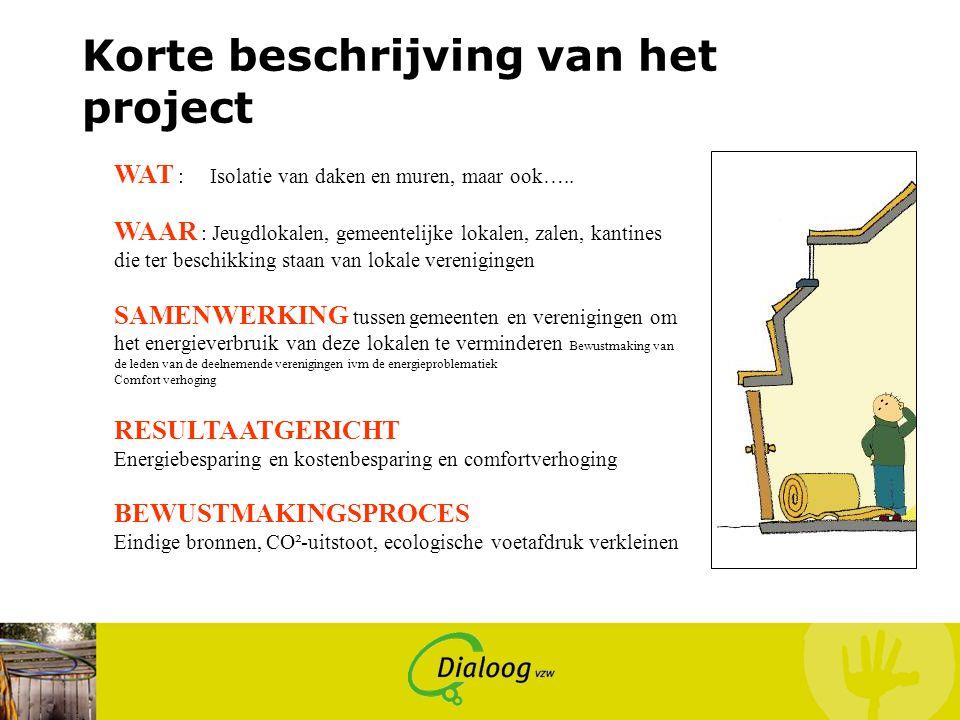Korte beschrijving van het project WAT : Isolatie van daken en muren, maar ook….. WAAR : Jeugdlokalen, gemeentelijke lokalen, zalen, kantines die ter
