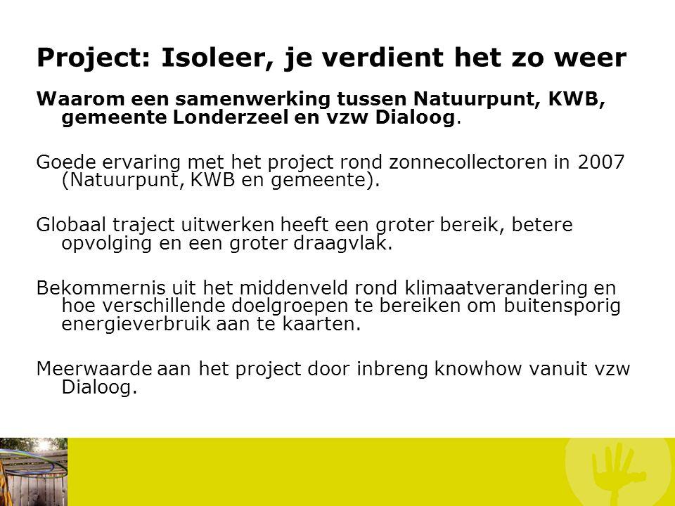 Project: Isoleer, je verdient het zo weer Waarom een samenwerking tussen Natuurpunt, KWB, gemeente Londerzeel en vzw Dialoog. Goede ervaring met het p