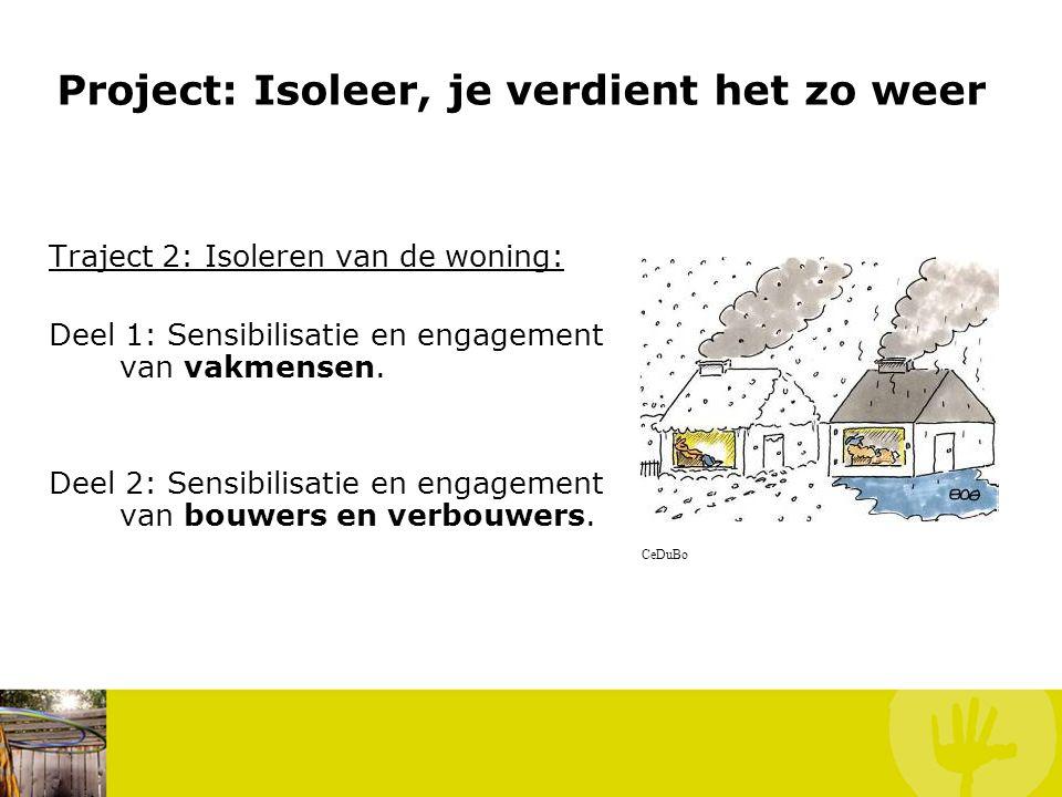 Project: Isoleer, je verdient het zo weer Traject 2: Isoleren van de woning: Deel 1: Sensibilisatie en engagement van vakmensen. Deel 2: Sensibilisati