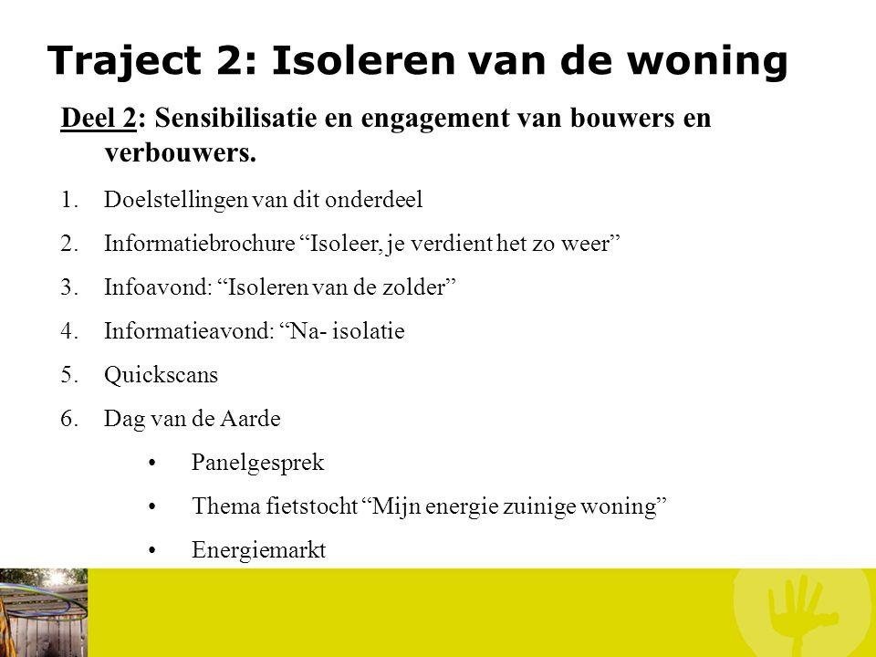 Traject 2: Isoleren van de woning Deel 2: Sensibilisatie en engagement van bouwers en verbouwers. 1.Doelstellingen van dit onderdeel 2.Informatiebroch