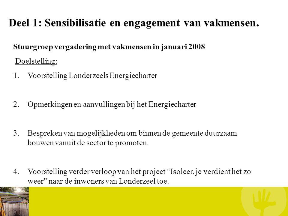 Deel 1: Sensibilisatie en engagement van vakmensen. Stuurgroep vergadering met vakmensen in januari 2008 Doelstelling: 1.Voorstelling Londerzeels Ener