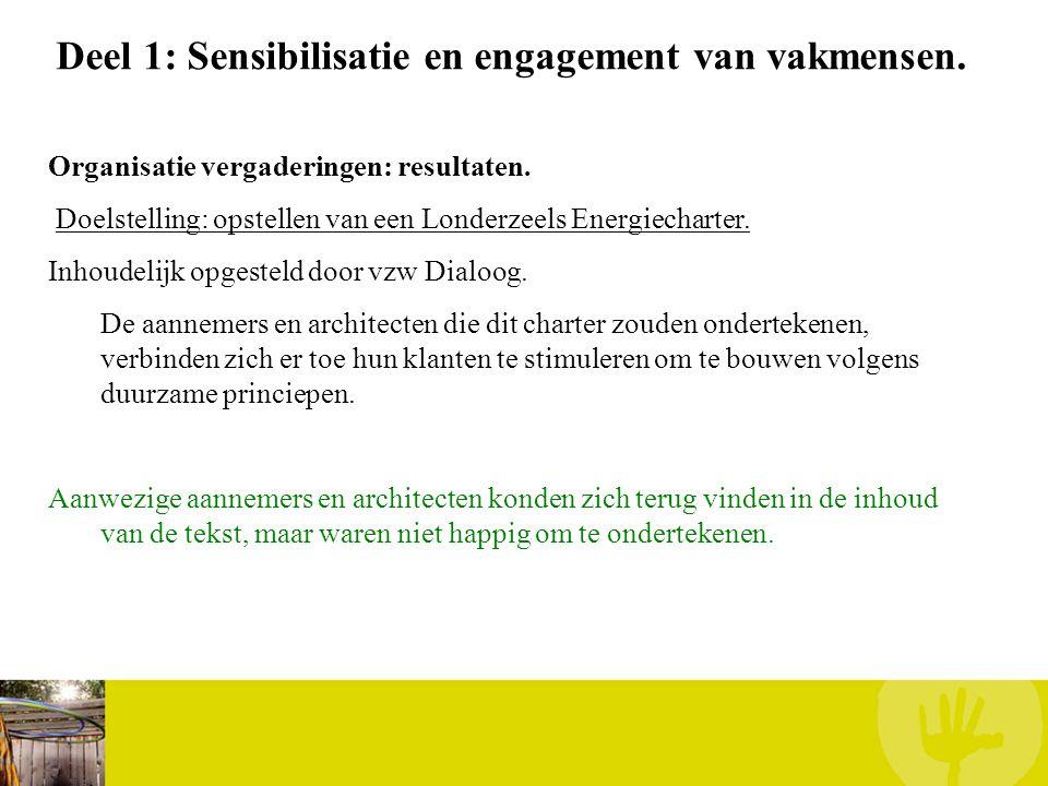 Deel 1: Sensibilisatie en engagement van vakmensen. Organisatie vergaderingen: resultaten. Doelstelling: opstellen van een Londerzeels Energiecharter.